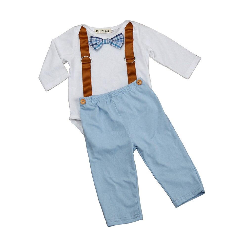 Летние комплекты одежды для маленьких мальчиков Для мальчиков ясельного возраста малыш Нежный бантом комбинезон с длинными рукавами + Брюк...