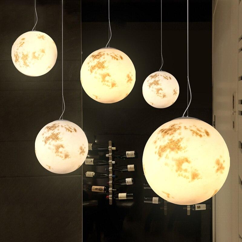 LED moderne lune suspendus lumières loft lustre chambre suspension luminaires luminaires nordiques salon suspension lampes