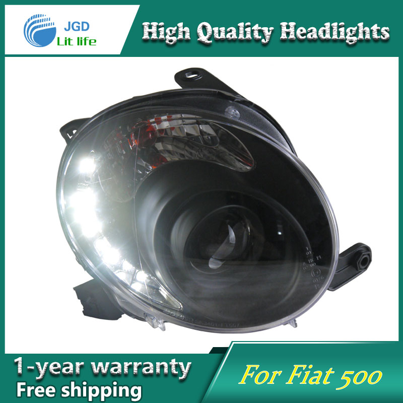 JGD Brand New Styling for Fiat 500 LED Headlight 2007-2012 Headlight Bi-Xenon Head Lamp LED DRL Car Lights jgd brand new styling for audi a3 led headlight 2008 2012 headlight bi xenon head lamp led drl car lights