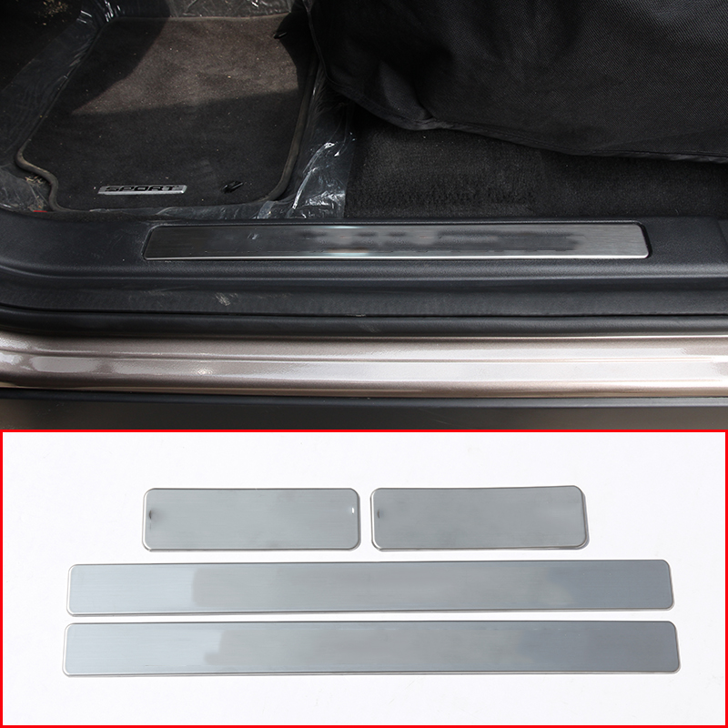 4pcs Stainless Steel Car Door Sill Protect Plate Cover Trim Accessories For Land Rover Discovery Sport 2015-2018 for land rover range rover sport stainless inside door sill scuff plate 2014 2017 4pcs silver black