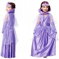 Halloween dziewczyna cosplay kostium dziewczyna fioletowy princess dress suknia dla dzieci śnieg biała sukienka