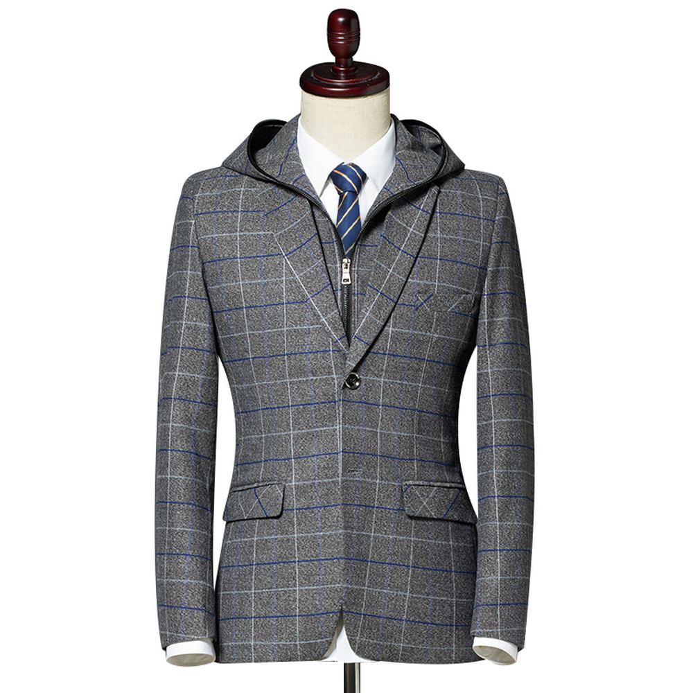 Nice Men Blazer Suit Jacket Fashion Man Hooded Plaid Blazer Style Casual Single Button Military Male Slim Fit Grid Suits Coats