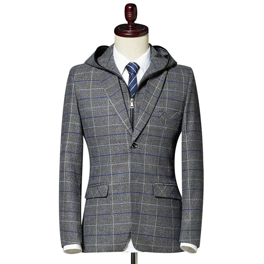 Nice Men Blazer Suit Jacket Fashion Man Hooded Plaid Blazer Style Casual Single Button Military Male Slim Fit Grid Suits Coats