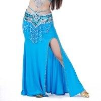 Donne Hip Sciarpa di Danza Del Ventre Gonna A Vita alta Sexy Slits Lungo Maxi Dancing Lady Costume