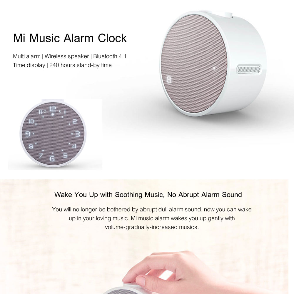 Xiaomi Mi Music Alarm Clock Bluetooth Speaker 240 Hours Standby Bluetooth 4.1 Speakers Control With APP For Android Smartphone Loudspeakers OK (1)