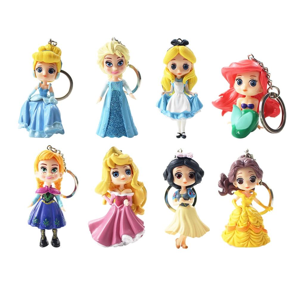 8 pçs/lote Disney Princesa Cinderela Branca de Neve Belle Sereia Pingentes Chaveiros PVC Action Figure Toy Presente Coleção Modelo