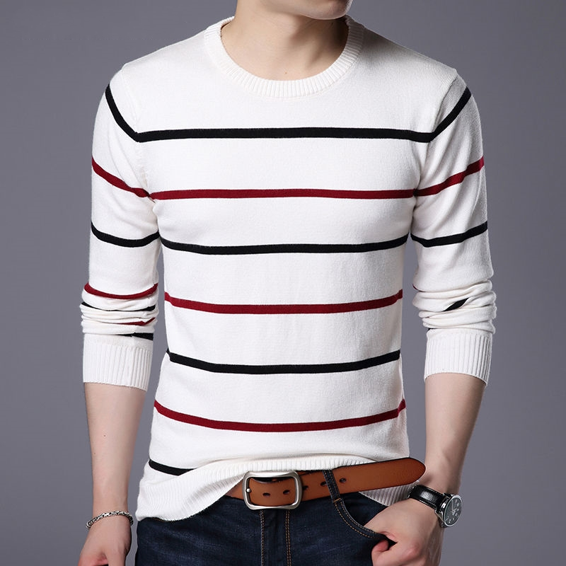 Stripe Mens Sweaters Wool Pullover Casual Cashmere Sweater Men Pull Homme Black White Striped Slim Male Sweter Knitted O Neck