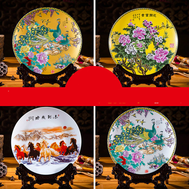 Ceramic Ornament Beauty Figurines Home Furnishing Crafts Chinese Style Porcelain Plates Handicraft Wedding Desktop Decor G $ 4
