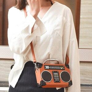 Image 2 - レトロラジオボックススタイルpuレザーレディースハンドバッグショルダーバッグチェーン財布女性のクロスボディメッセンジャーバッグフラップ