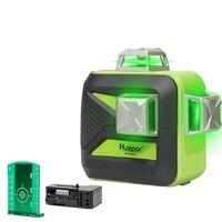 Huepar 12 Lines 3D Cross Line Laser Level Self Leveling 360 Vertical & Horizontal Lase Beam USB Charge Use Dry & Li ion Battery