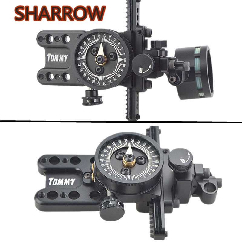 Compound Bow 1 Pin Sight Wrapped Archery Bow Sight Right Hand Micro Adjustable Pointer Lens For