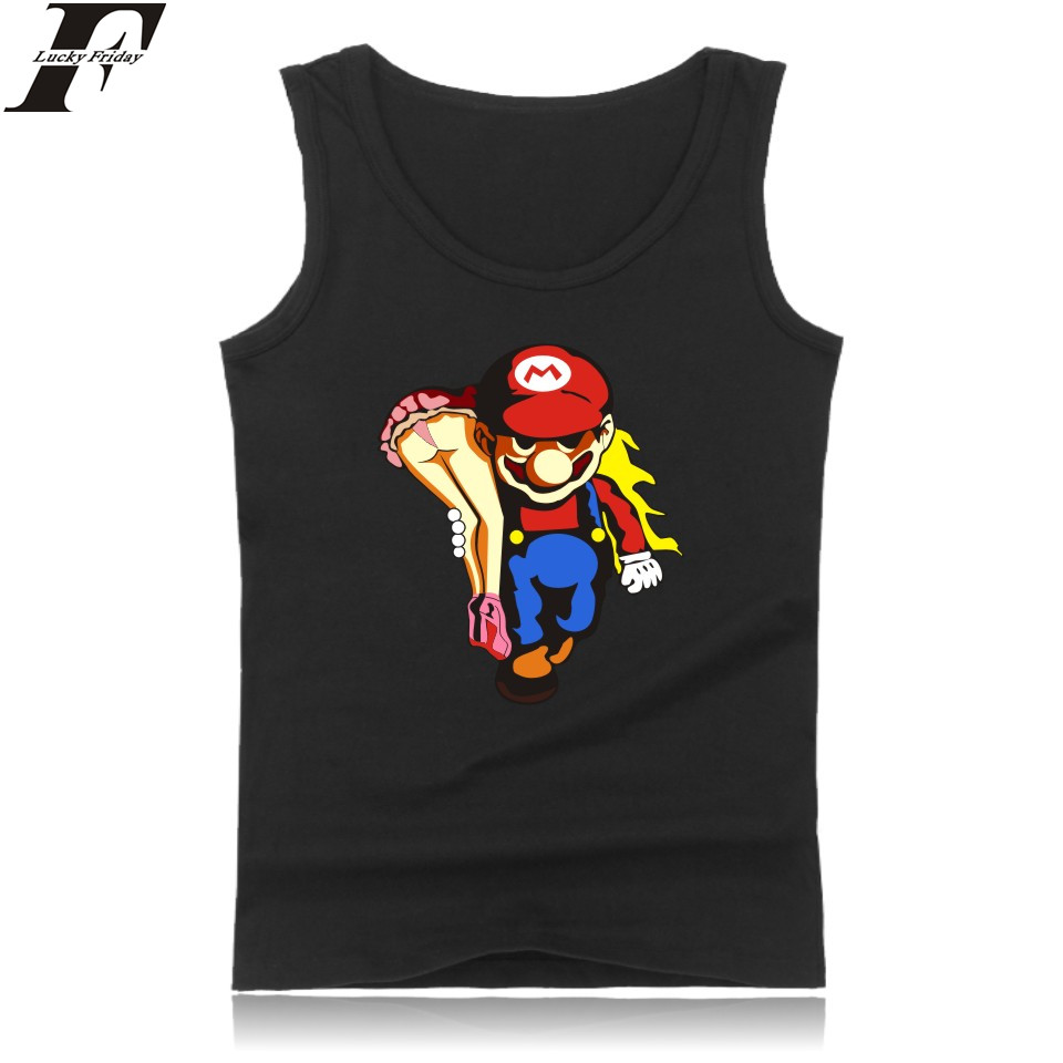 LUCKYFRIDAYF Super Mariorun Black Muscle   Tank     Tops   for Men Sleeveless Shirts and Funny Game Super Mario Summer Vest Clothing 4XL