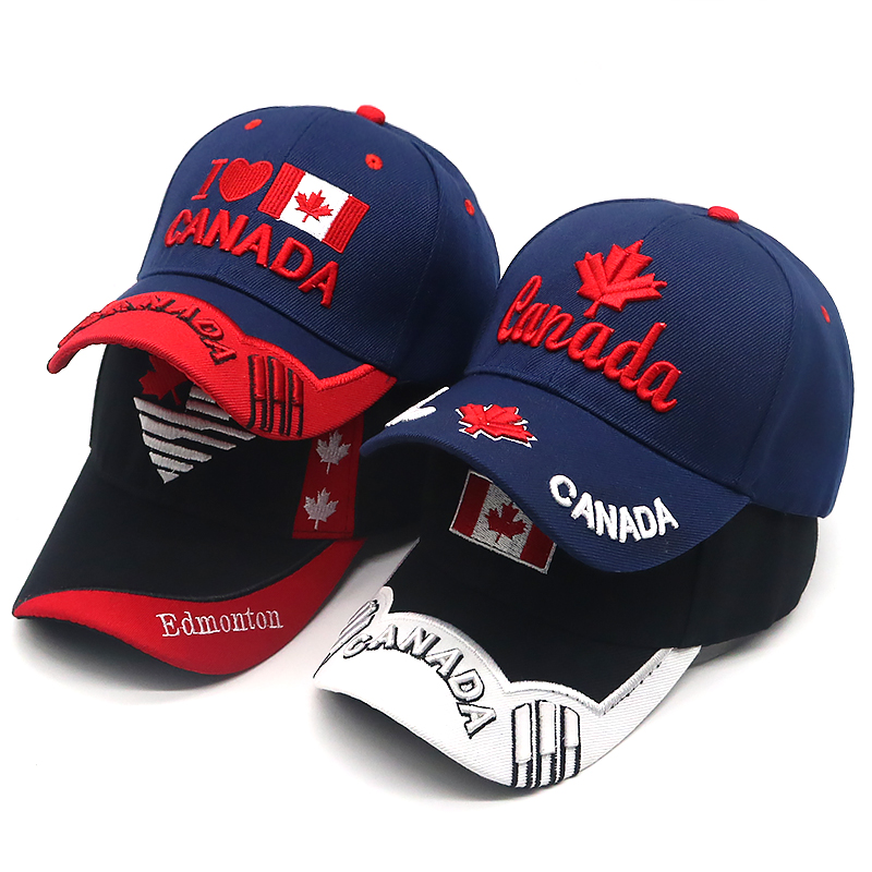 2018 New Canada   cap   3D embroidery Canada Maple leaf   baseball     caps   cotton adjustable snapback hat fashion   caps   casual hats