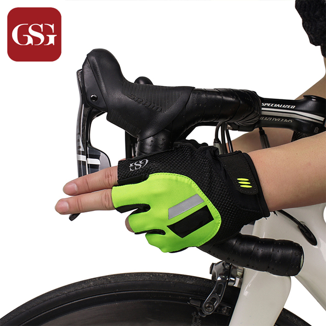 GSG Fashion Mens Half Finger Sports Gloves Casual Fingerless Driver Biker Outdoor Cotton Males Driving Gloves Red Green 4 Sizes