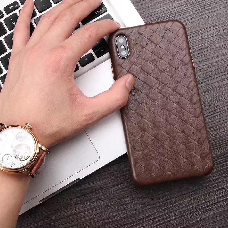 Fashion Woven Pattern Genuine Leather Case For iPhone XS MAX/ XS/ X/ XR Original Phone Cover For iPhone 11 Pro XS MAX Back CaseFitted Cases   -