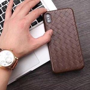 Image 1 - الأزياء المنسوجة نمط جلد طبيعي حالة ل فون XS ماكس/XS/ X/ XR الأصلي الهاتف غطاء ل فون 11 برو XS ماكس عودة حالة
