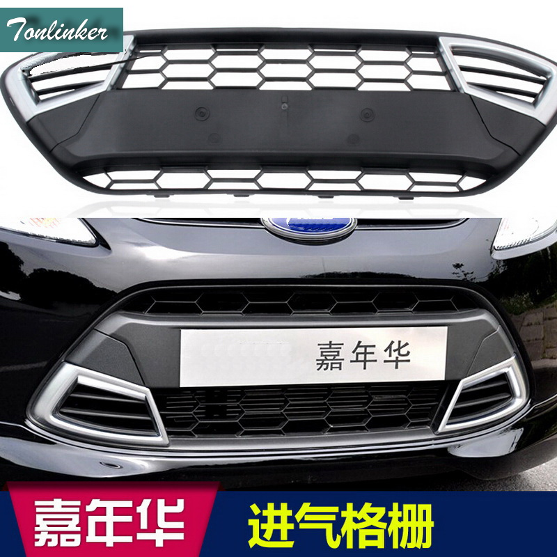 Tonlinker 1 PCS DIY Car styling Engineering Plastics front grille cover case stickers for Ford Fiesta hatchback sender 2009-12
