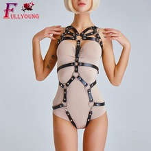 Fullyoung 2 Pcs Set Fashion Sexy Women Body Belts Garters Punk Leather Harness Chest Belt Leg Waist To Suspenders