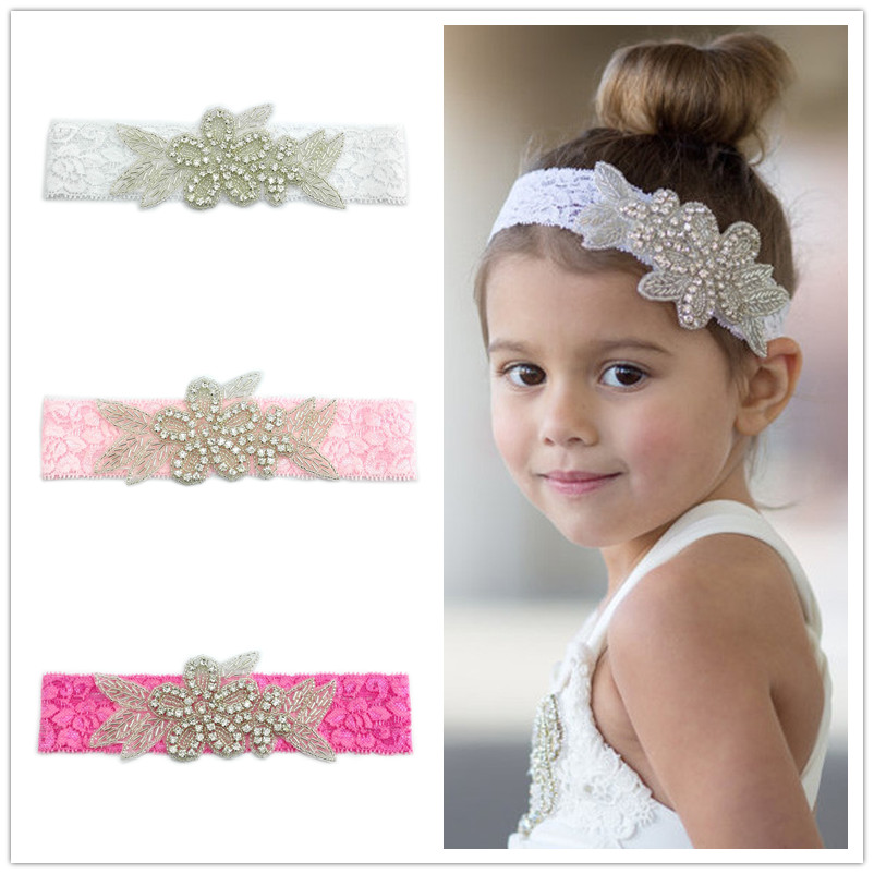 Naturalwell Kids Girls headbands Rhinestone flowers with leaves Headbands children hair accessories Child Lace hairband HB019