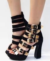 High Quality Black Stripe Shoes Woman Platform Sandals Ankle Wrap Gladiator Sandals Women Open Toe Chunky
