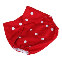 [QianQuHui] 0-3 Years Old Baby Reusable Nappies Adjustable Washable Breathable Cloth Diapers Cover Training Shorts Button Red