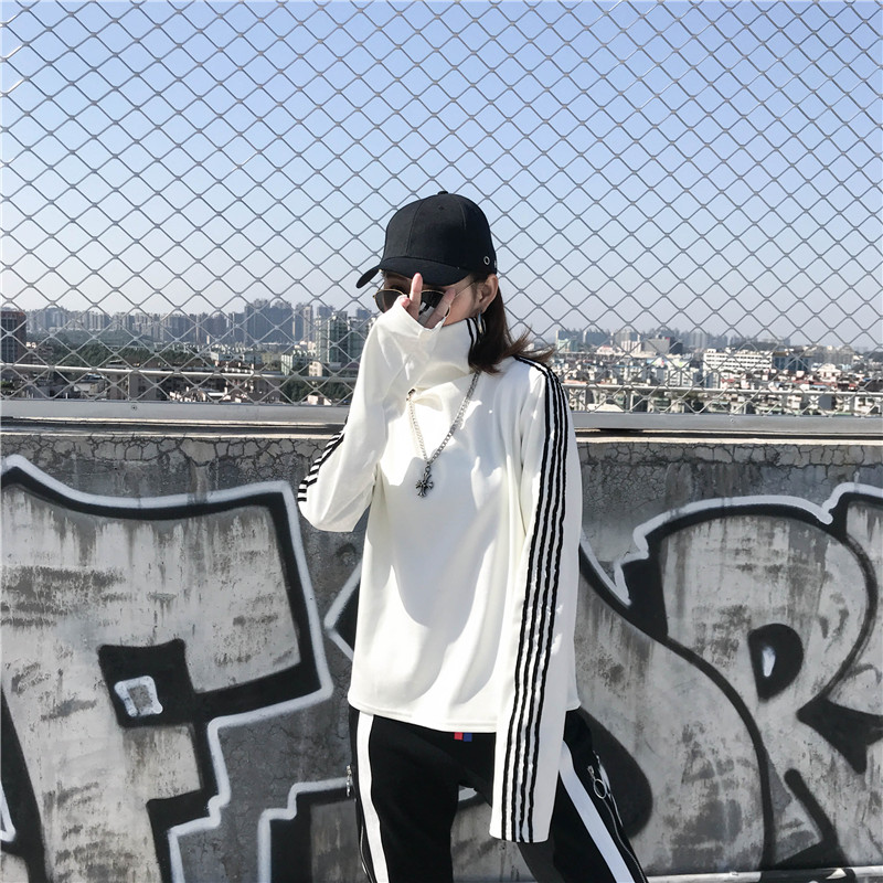 T-shirts Women Long Sleeve Turtleneck Striped Letter Embroidery Harajuku Womens Loose T-shirt Trendy Chic Korean Style All-match 11