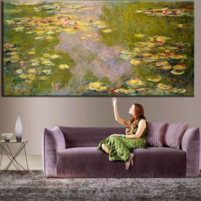 4d777f61a The Water Lily Murals 3D Custom Wallpaper Claude Monet Painting photo  wallpaper Room decor Bedroom Living room Shop Sitting room