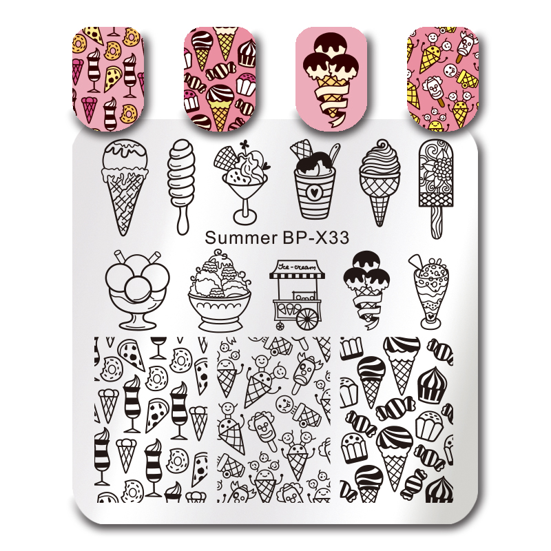 BORN PRETTY Nail Art Stamping Template Square Stamp Plate Summer Icecream 6*6cm Manicure Nail Art Image Plate BP-X33