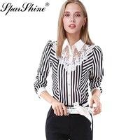 Neue Frauen Bluse drehen-unten Kragen Schwarz Streifen Weiß Spitze Blume Chiffon-Hemd Plus Größe Weibliche einreiher blusas Weibliche