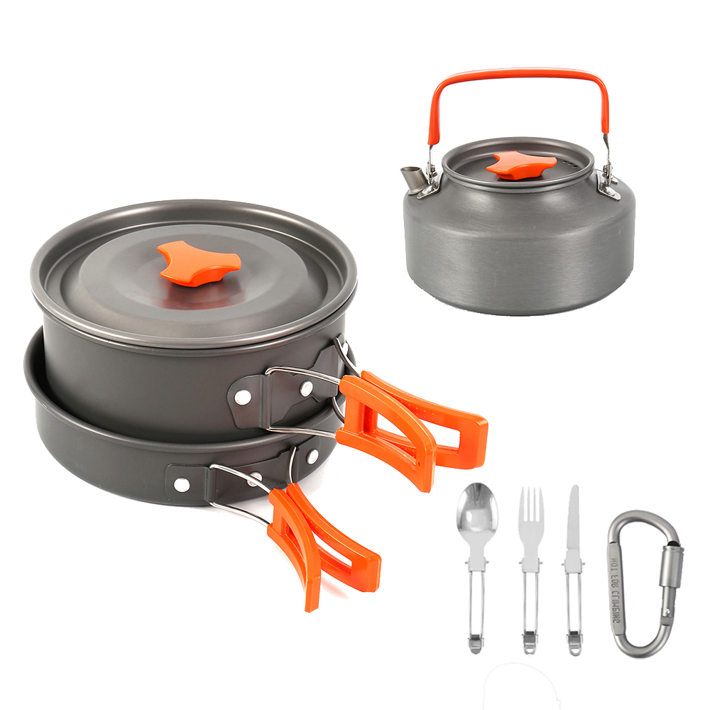Aluminum Alloy Hiking Picnic Tourist Tableware Set With Folding Spoon Fork Knife Non stick Pot Pan