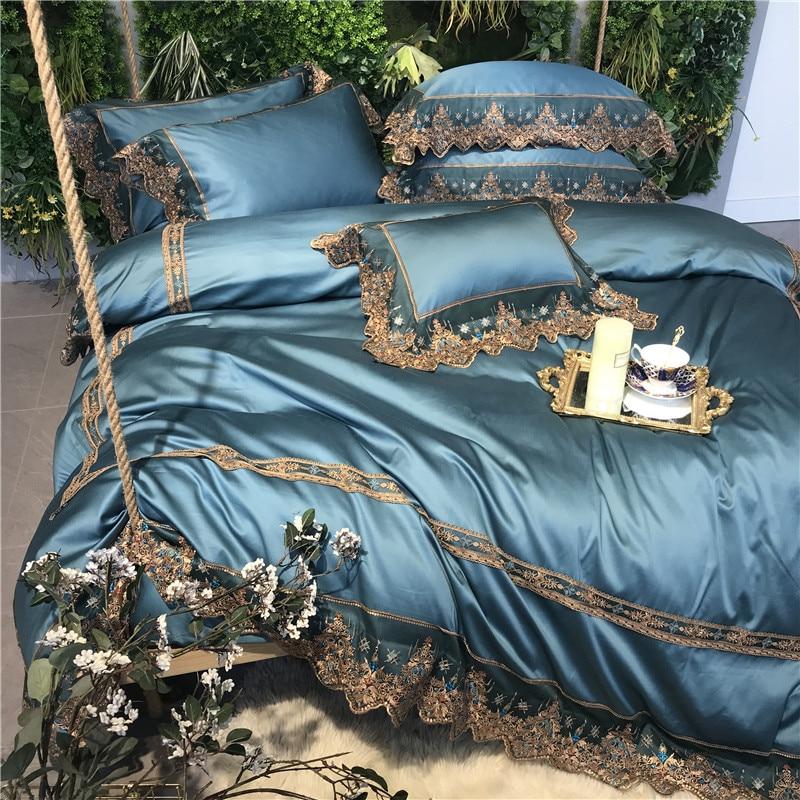 4/5 piezas azul lujo romántico encaje bordado 100 S algodón egipcio corte ropa de cama conjunto edredón cubierta cama sábanas ropa de cama fundas de almohada-in Juegos de ropa de cama from Hogar y Mascotas    3