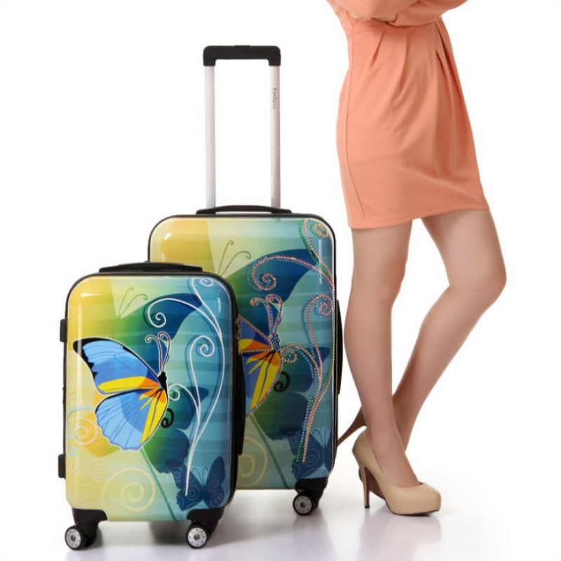 fashion Abs Butterfly Travel Suitcase Spinner Wheels Cabine Trolley Luggage For Unisex In Many Styles Objective 202428 Inches Universal Wheel Case Bag Rolling Luggage