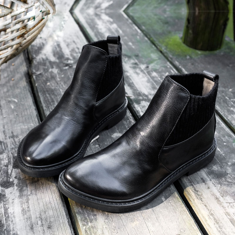 Talon Femmes Black Bottines Chelsea Cuir Pour Femme Hiver Ronde Bas Automne Chaussures En Confortable Tête Noir 2019 Xiangban qaBStA