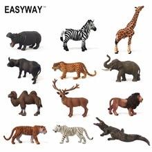 Easyway Zoo Mini Wild Animals Action Figures Set Figurines Kids Toys For Children Wildlife Toys Simulation Animal Model Toy Bear