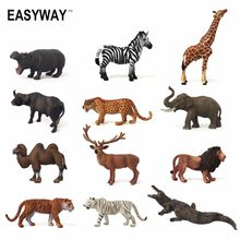 Easyway Zoo Mini Wild Animals Action Figures Set Figurines Kids Toys For Children Wildlife Toys Real Life Animal Model Toy Bear(China)