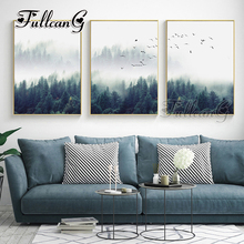FULLCANG diy 3 pieces diamond painting forest tree landscape triptych mosaic cross stitch 5d embroidery kits full drill G1278