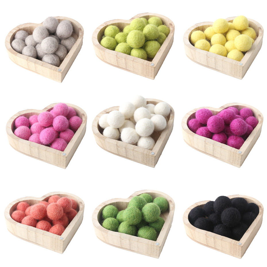 10pc 20mm Fetl Balls New Wool Pom Poms Beads DIY Room Party Christmas Gift DIY Craft Round Wool Felt Balls Make Ring Rattle