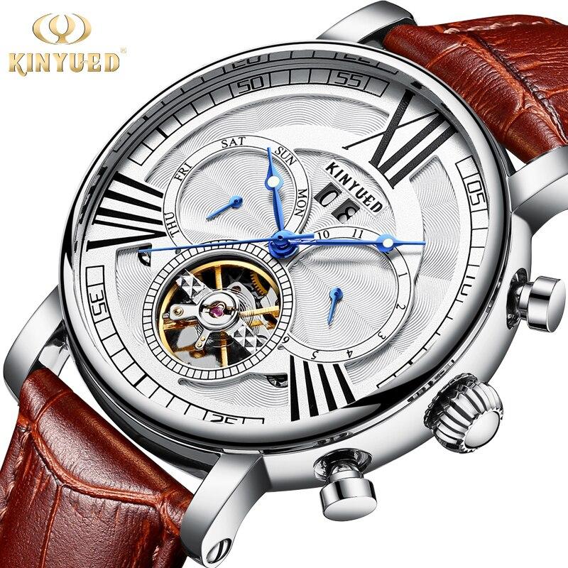 Kinyued 2018 Top Relógios Mecânicos Homens de Ouro Pulseira de Couro Relógio Automático Mão Esqueleto Turbilhão Masculino Relógio de Pulso À Prova D' Água