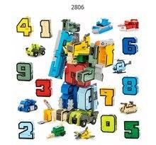 GUDI bloki Robot cegły 10 w 1 kreatywny montaż edukacyjne figurki numer transformatora zabawki modele na prezenty dla dzieci