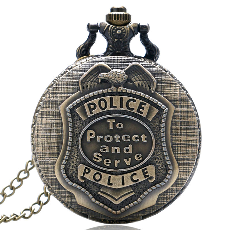 Retro Bronze POLICE Quartz Pocket Watch Pendant Necklace Chain Mens Womens Gift P388 antique smooth black mini toy pocket watch men women retro pendant necklace quartz watch mini gift chain reloj de bolsillo