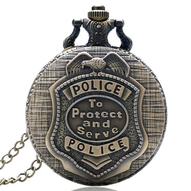 Retro Bronze POLICE Quartz Pocket Watch Pendant Necklace Chain Mens Womens Gift