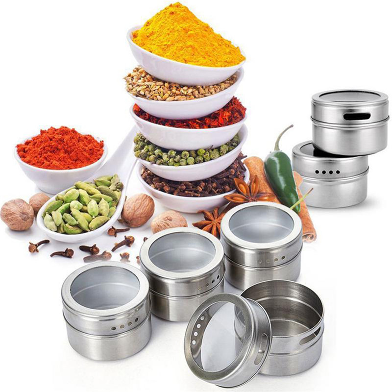 9Pcs Set With Adjustable Metal Stand To Organize and Hold Spices Dried Herbs Kitchen Tools Stainless Steel Magnetic Spice Rack