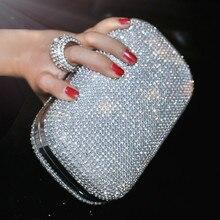 SEKUSA Bolso de noche con diamantes para mujer, cartera de mano con diamantes de imitación, bolso de hombro con cadena, BILLETERA, bolso de noche para boda