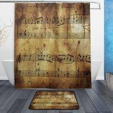 Conjunto de cortina y alfombrilla de ducha de nota musical, hoja de música Vintage, cortina de baño de tela impermeable