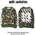 OFF WHITE 13 hoodies print green Camouflage men hoodie Tracksuit Kanye West Sweatshirts Hip Hop Skateboard Hoodie