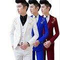 ( Jacket + vest + pants ) new 2017 men's boutique embroidery fashion groom wedding dress suits / Male slim social business suits