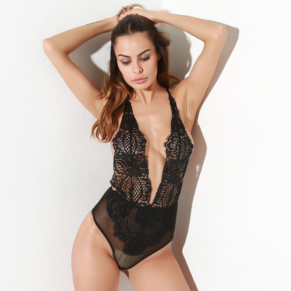 Black Sexy Deep V-neck Backless Women Bodysuit 2019 Sumemr Lace