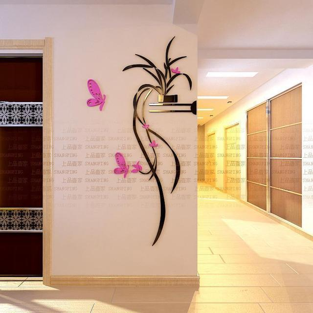 Orchid Flower Wall Stickers Home Decor Living Room 3D Acrylic Plants Decals Entranceway Butterfly Muraux Adesivos De Parede