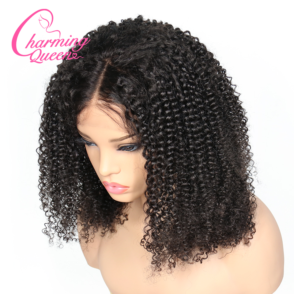 150 Density Lace Front Human Hair Wigs For Black Women Kinky Curly Pre Plucked Glueless Brazilian