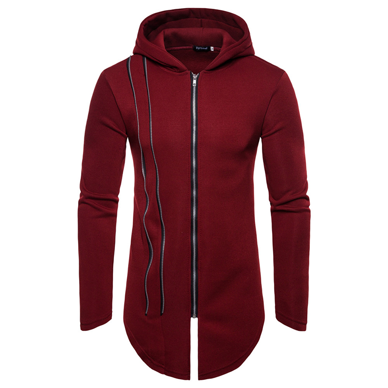 2019 Length Style Men Zipper Hoodies Leisure Printing Men's Popular Long Paragraph Hooded Mens Personality Casual Jacket EU Size
